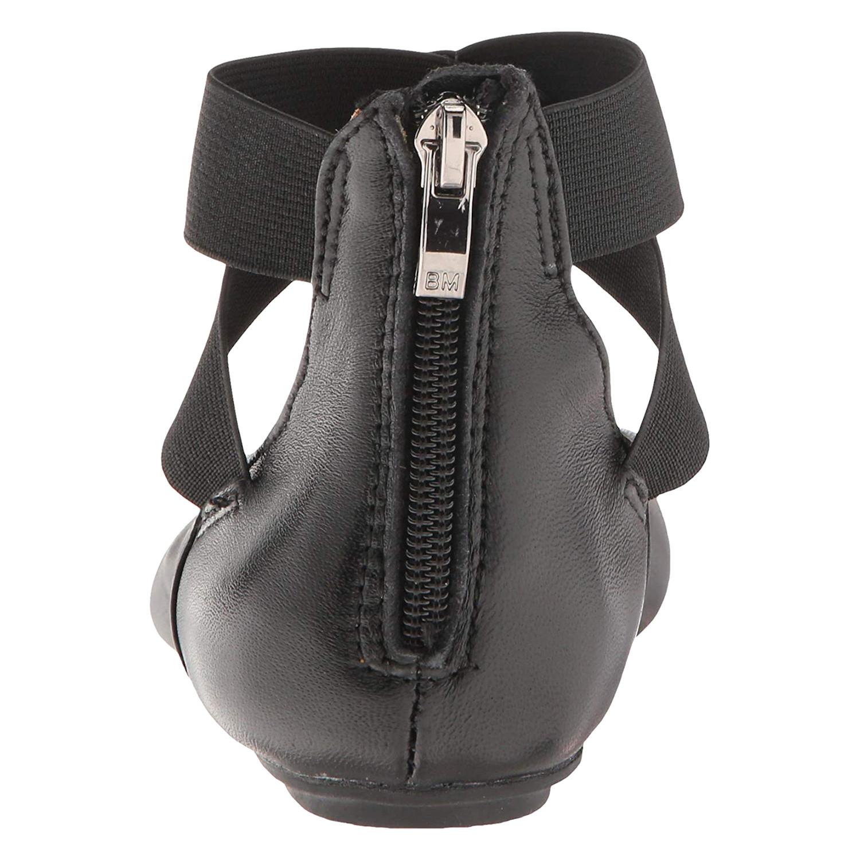 44b09bdd589a FLORIANA - Women s Arabesque Black Leather Ballet Flats - Strappy Zip Backs  - Walmart.com