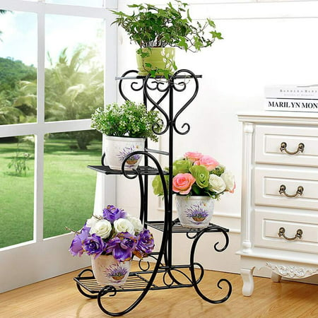 4 Tier Square Plant Stand Metal Flower Holder Pot Garden Decoration Display Wrought Iron 4 Layers Planter Rack Shelf Organizer for Indoor Outdoor Home Office Black ()