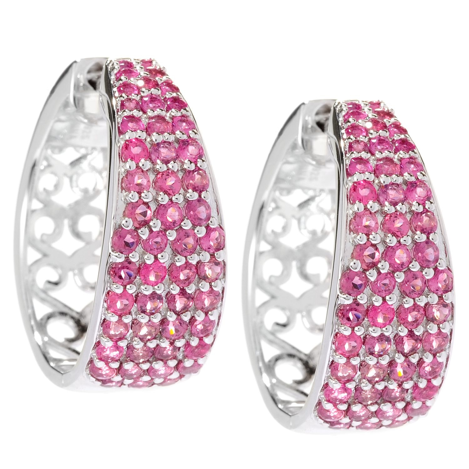 """Sterling Silver 2.8ctw Pink Tourmaline With Clicker Back Hoop Earrings 1""""L"""