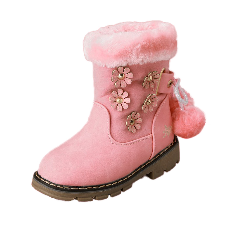 Girls Pom Pom Suede Antiskid Winter Boot With Zipper by SANUCL
