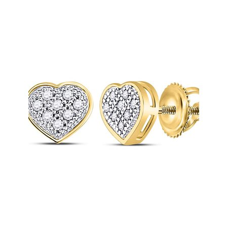 - 10kt Yellow Gold Womens Round Diamond Heart Cluster Screwback Earrings 1/20 Cttw