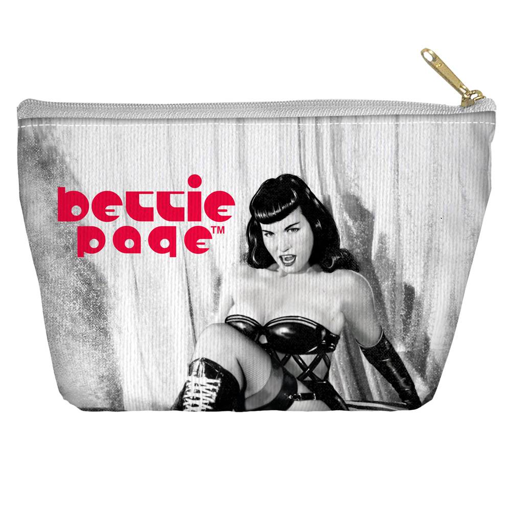 Bettie Page Boots Accessory Pouch White 12.5X8.5