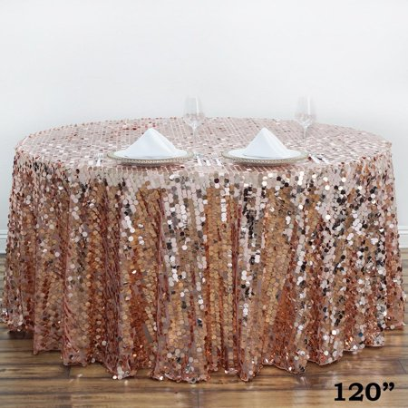 """BalsaCircle 120"""" Big Payette Round XL Sequin Tablecloth for Party Wedding Reception Catering Dining Home Table Linens"""