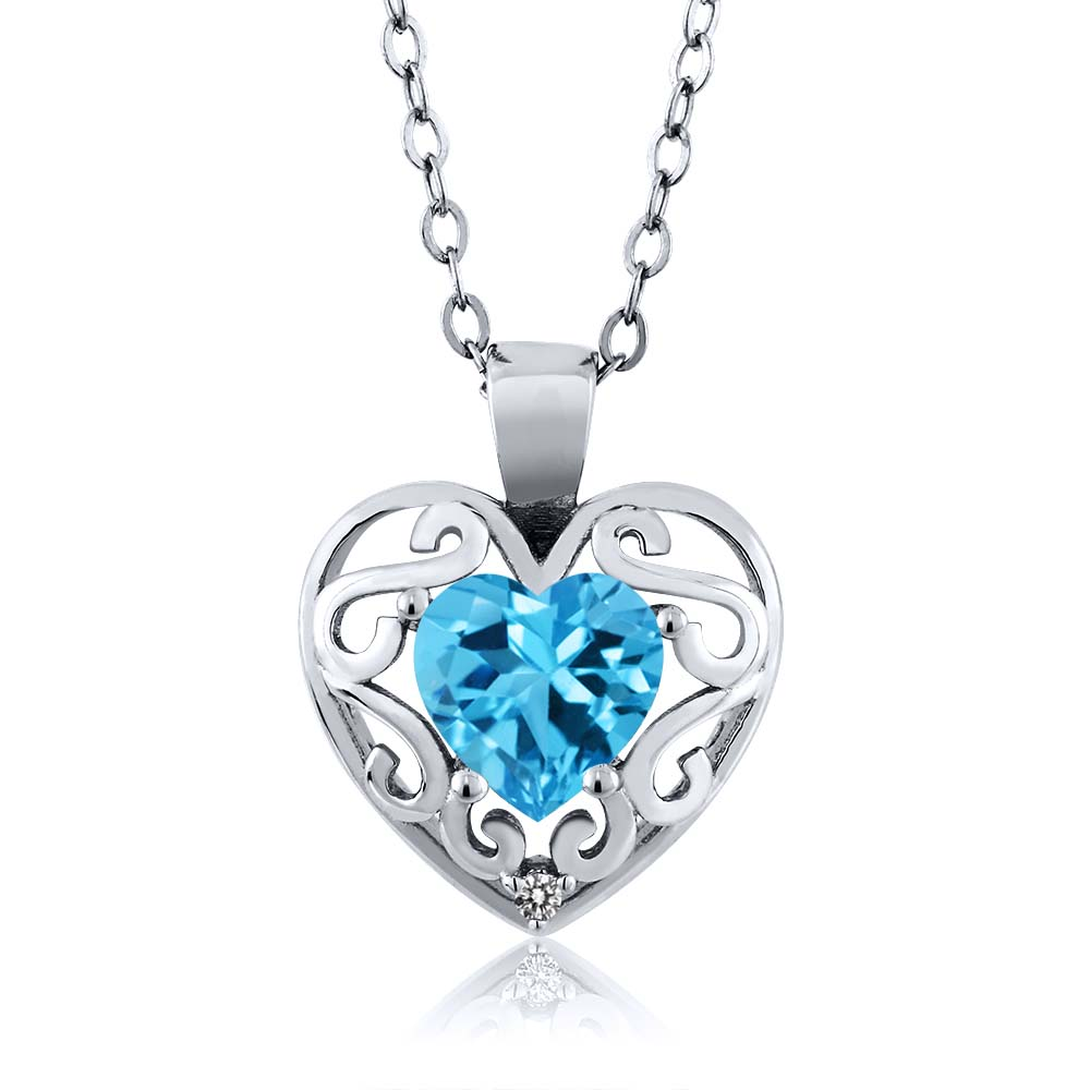 1.01 Ct Heart Shape Swiss Blue Topaz White Diamond Sterling Silver Pendant
