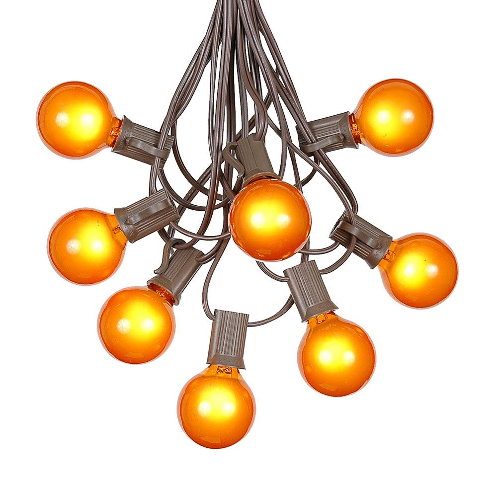 G40 Patio String Lights with 125 Clear Globe Bulbs – Outdoor String Lights – Market Bistro Café Hanging String Lights – Patio Garden Umbrella Globe Lights - Brown Wire - 100 Feet