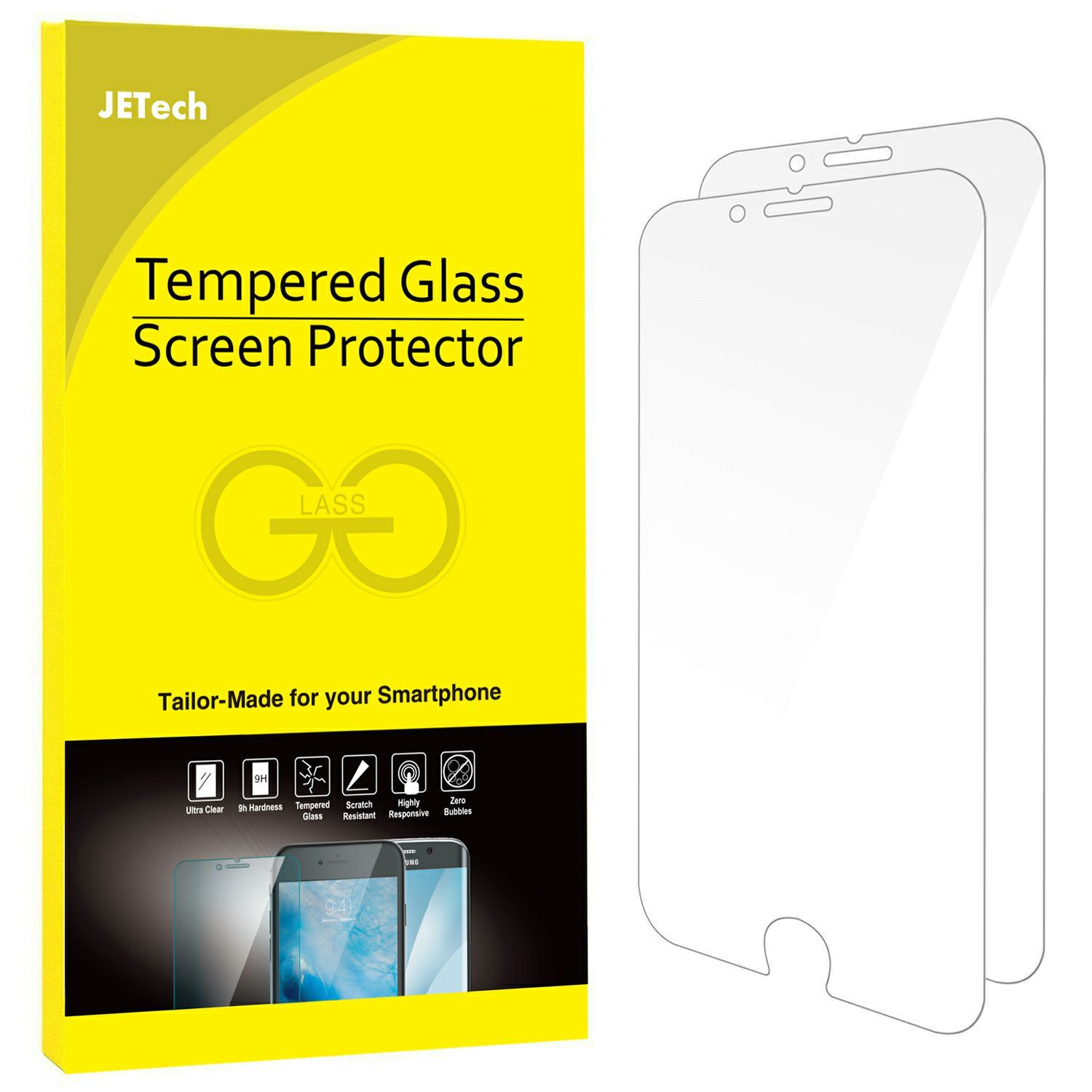 """iPhone 7 Plus Screen Protector, JETech 2-Pack Premium Tempered Glass Screen Protector for Apple iPhone 7 Plus 5.5"""" - 0990A"""