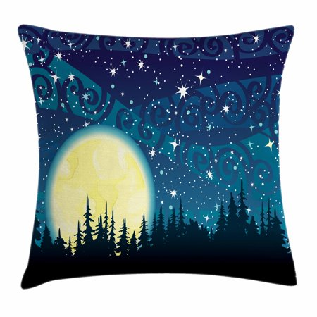 Starry Night Throw Pillow Cushion Cover, Full Moon over the Forest Sky with Stars Dots and Swirls Background, Decorative Square Accent Pillow Case, 16 X 16 Inches, Dark Blue Cream Black, by Ambesonne