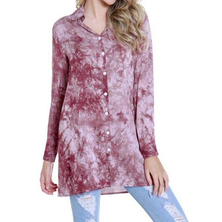 JustVH Women's Tie-dye Button Down Solid Loose Shirt Casual Tops (Tie Dye Toys)