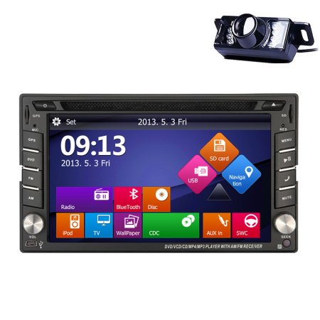 GPS Navigation SD Video PC System Radio Receiver Car Stereo Autoradio FM AM Audio USB 2 Din Car DVD Player In Dash Head Unit BT Sub AMP