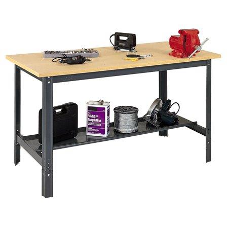 72u0022 W x 24u0022 D Wodden Top Workbench with Shelf
