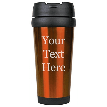 Customized 3D Laser Engraved Personalized Stainless Steel Custom Travel Mug without Handle (Orange)