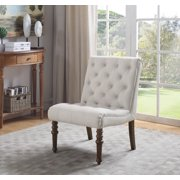 Best Master Furniture Fremont Upholstered Tufted Armless Accent Chair, Natural Linen