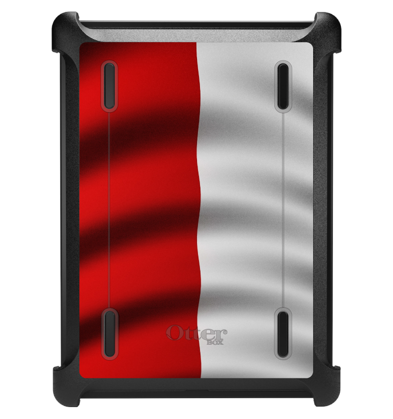 CUSTOM Black OtterBox Defender Series Case for Apple iPad Air 1 (2013 Model) - Poland Waving Flag