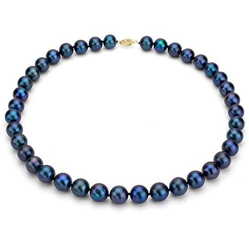 """Ultra-Luster 11-12mm Black Genuine Cultured Freshwater Pearl 18"""" Necklace and 14kt Yellow Gold Filigree Clasp by Jacqueline's Collection"""