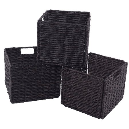 Set of 3 Folding Cube Rattan Storage Baskets