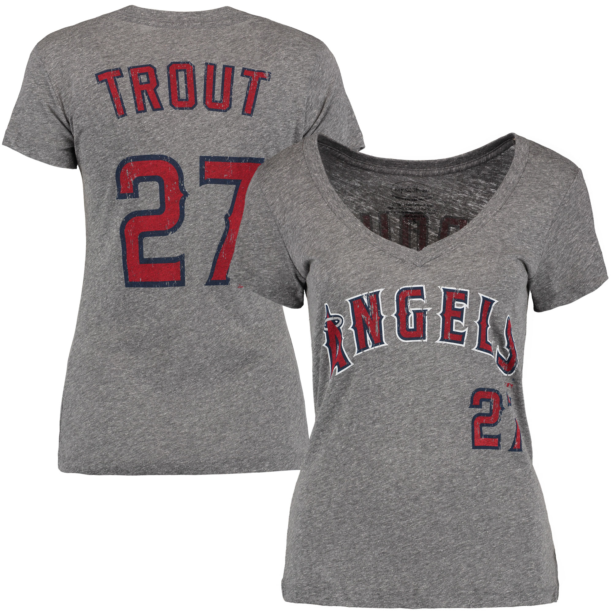 Mike Trout Los Angeles Angels Majestic Threads Women's Name and Number V-Neck T-Shirt - Gray