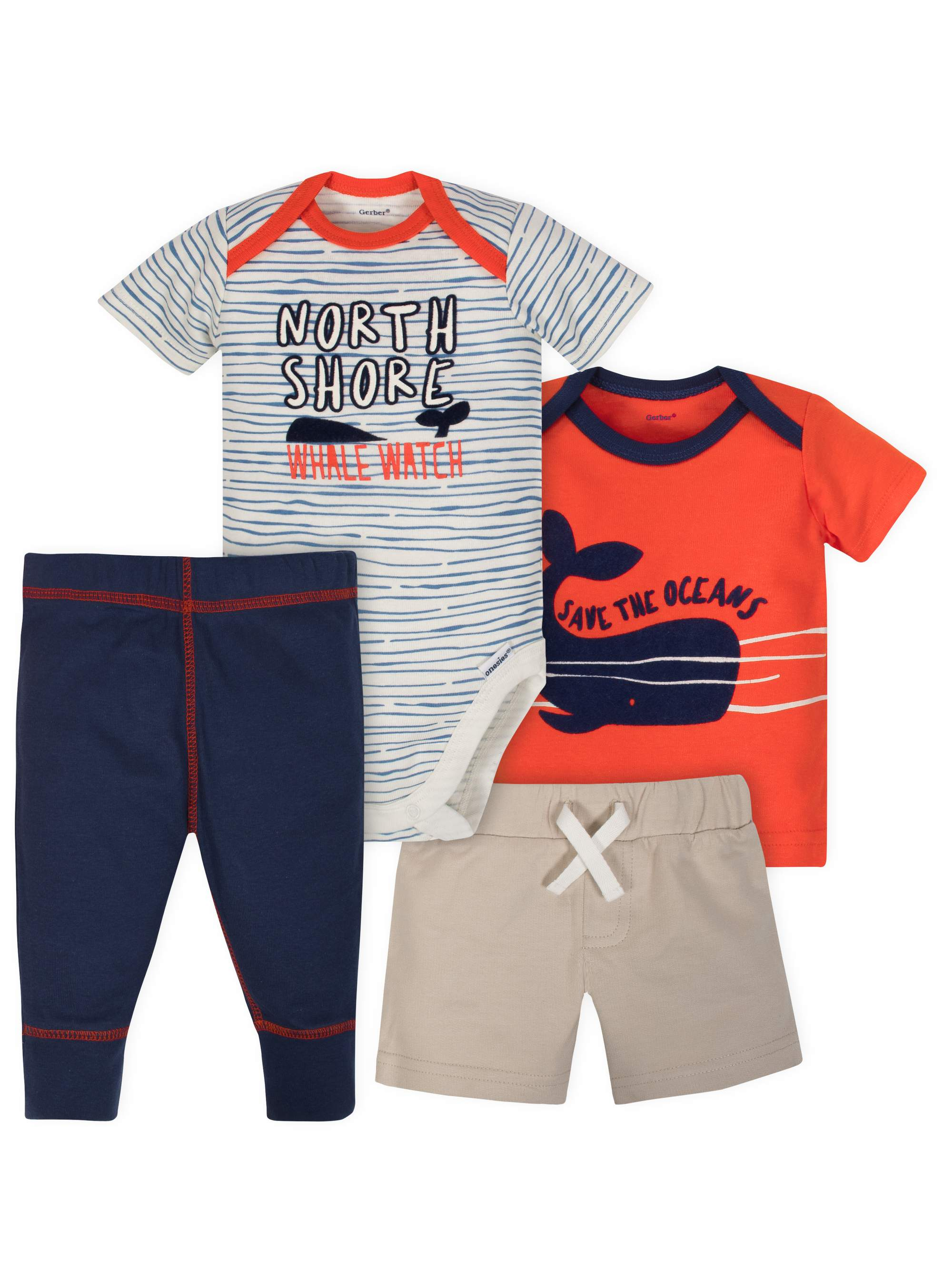 Bodysuit, Shirt, Short and Pant Mix N Match Outfit Set, 4pc (Baby Boys)