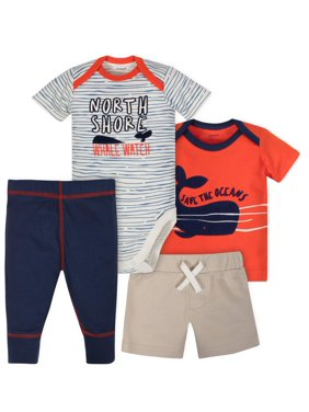 eba06d51d Product Image Bodysuit, Shirt, Short and Pant Mix N Match Outfit Set, 4pc ( Baby