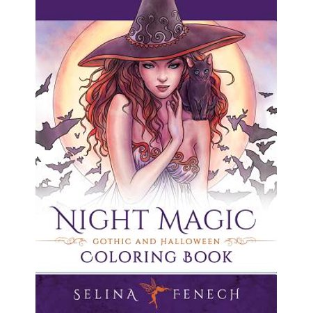 Night Magic - Gothic and Halloween Coloring Book (Halloween Sounds Of The Night)