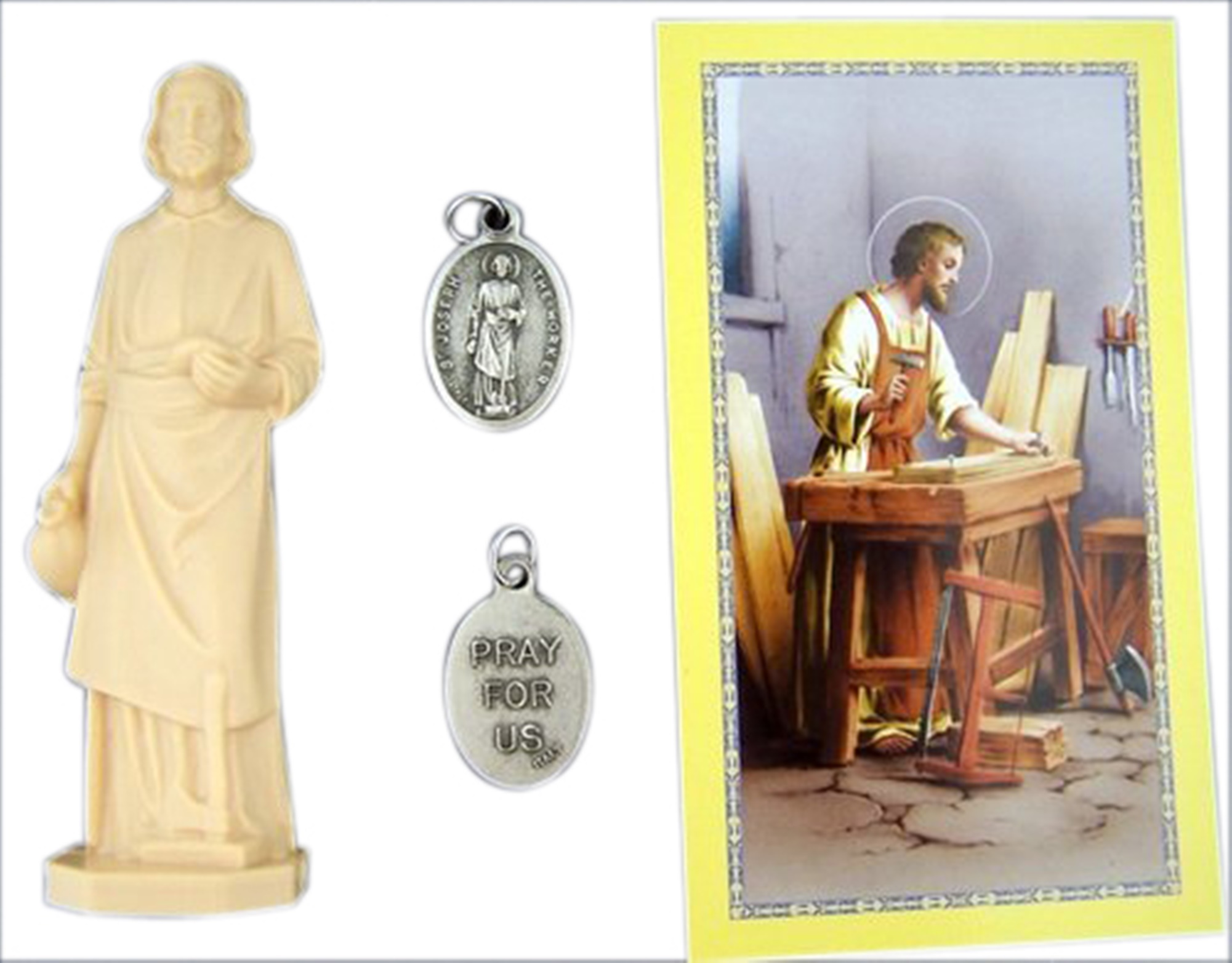 Home Seller Kit Saint Joseph Statue Figurine with Prayer Card Instructions and Saint Medal, 3 Inch by Needzo Inc