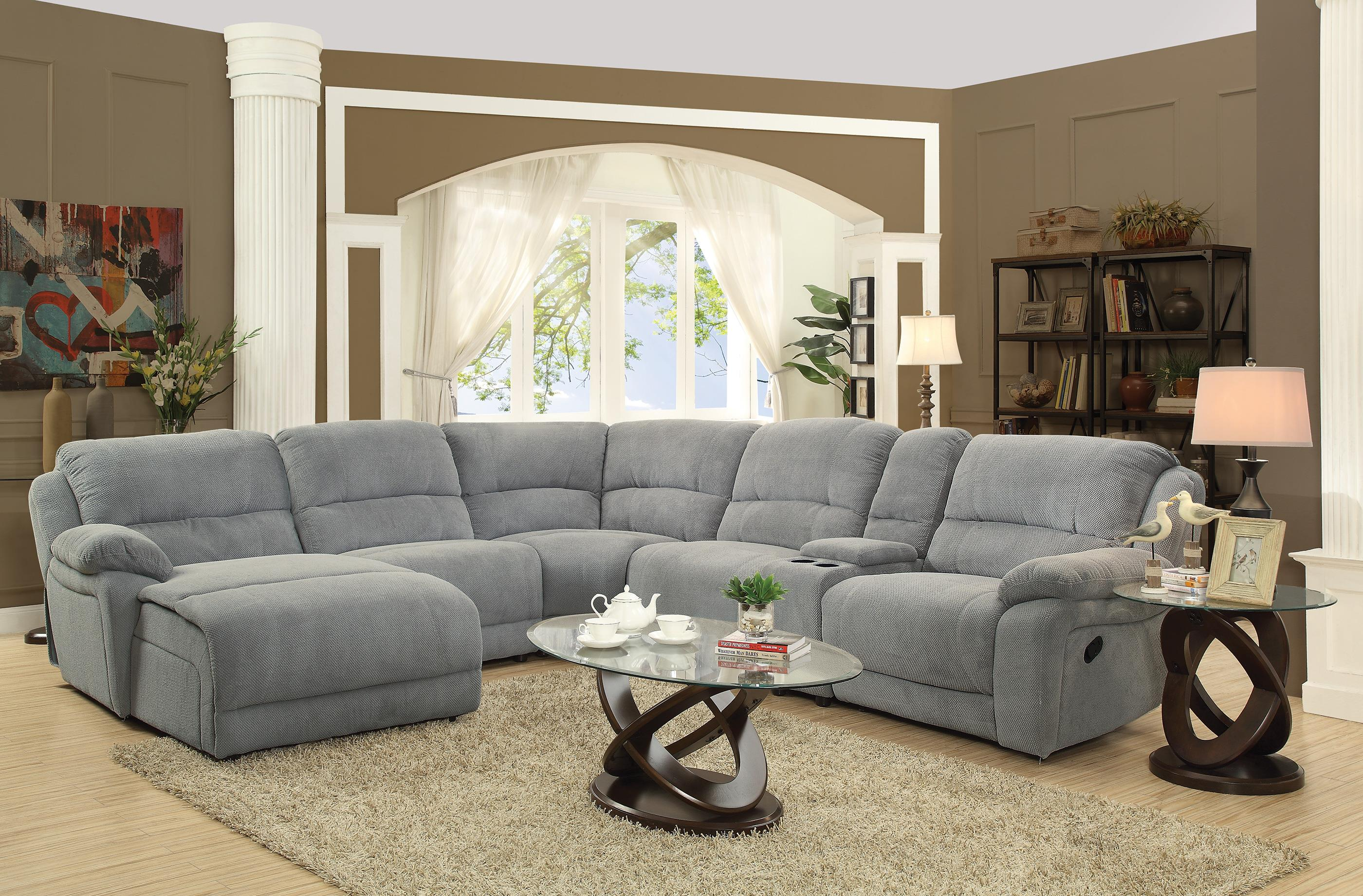 Coaster Mackenzie Silver Tone 6 Piece Reclining Sectional