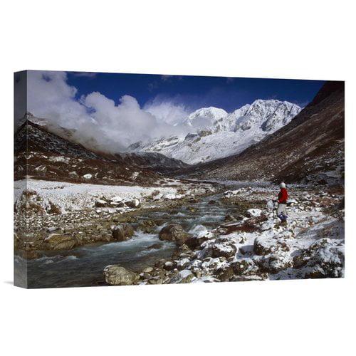 East Urban Home 'India Sikkim Himalaya Rathong Chu'Kabru Peak Winter Snowfall' Photographic Print on Wrapped Canvas