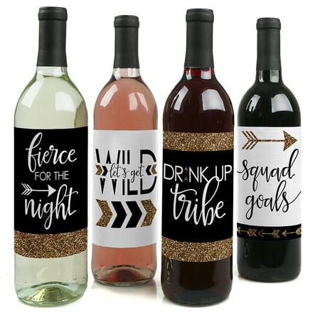 Bride Tribe - Bridal Shower & Bachelorette Party Wine Bottle Labels - Bachelorette Party Decorations - Set of 4