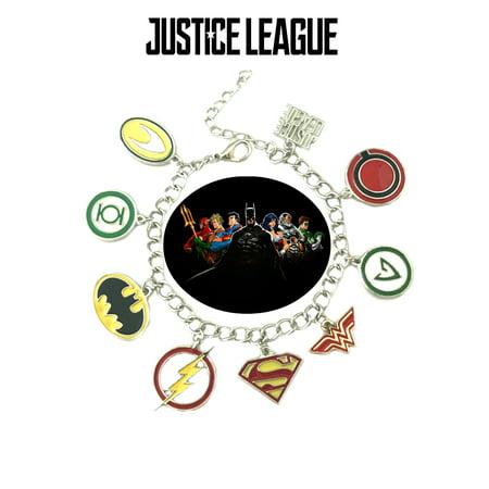 Justice League Charm Bracelet TV Show Series Comics Jewelry Multi Charms - Wristlet -Superheroes Brand Movie Superhero Comic Cartoon Collection