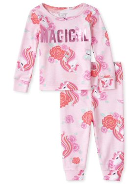 The Children's Place Baby Girls & Toddler Girls Long Sleeve Tight Fit Pajamas, 2pc Set