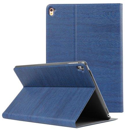 Professional Grain Pattern Portfolio Case (Navy Blue) for iPad Pro 9.7-inch - Sleep/Wake Mode, Premium Vegan Leather, Built-in Kick Stand, Full Coverage w/ Slim Design - Navy Oiled Full Grain
