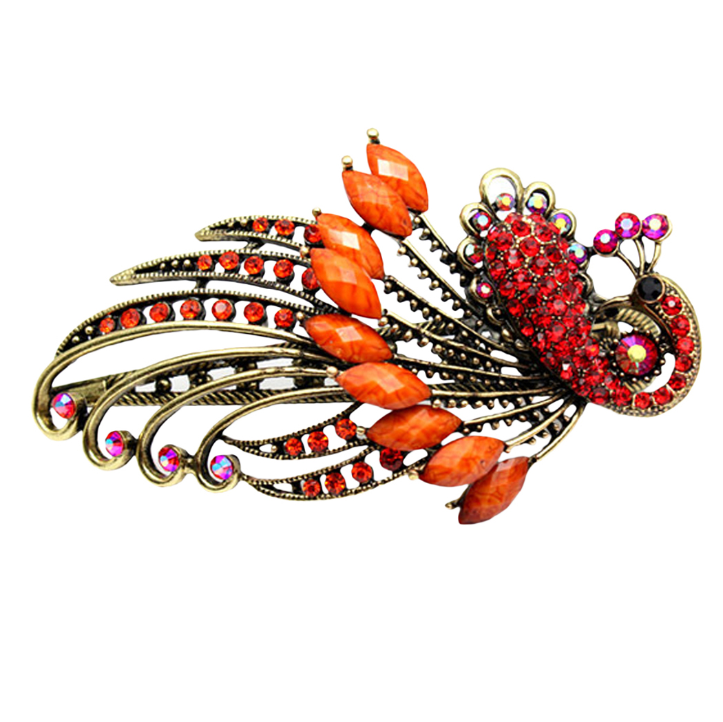 Hair Clips for Women, Coxeer Lovely Vintage Jewelry Hairpin Hair Peacock Clip Rhinestone Headdress