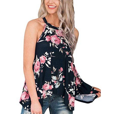 Womens High Neck Floral Tank Tops Flowy Halter Top Cami Shirt Sleeveless Blouse