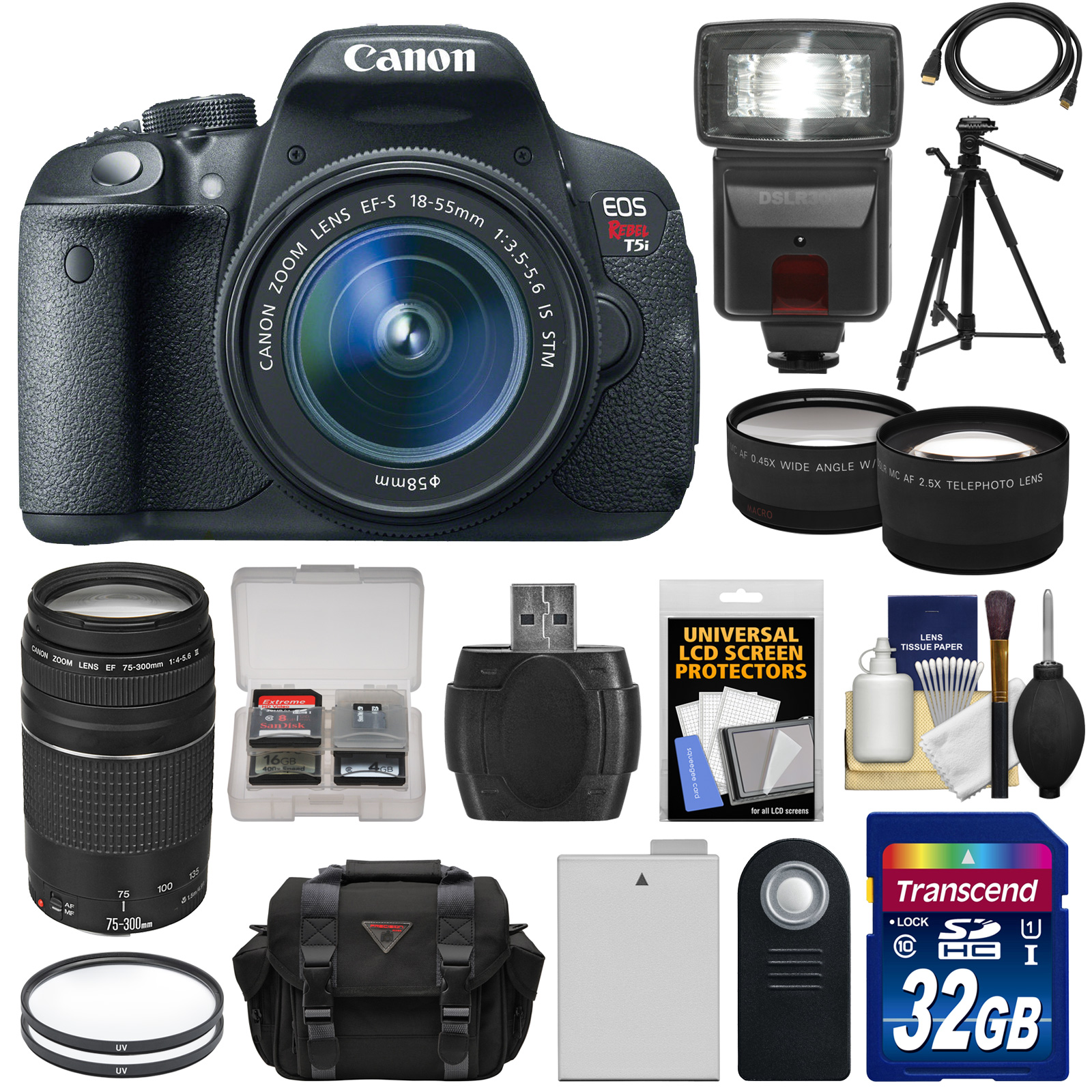Canon EOS Rebel T5i Digital SLR Camera & EF-S 18-55mm IS STM & 75-300mm III Lens   32GB Card   Battery   Case   Flash   Tele/Wide Lenses   Tripod Kit