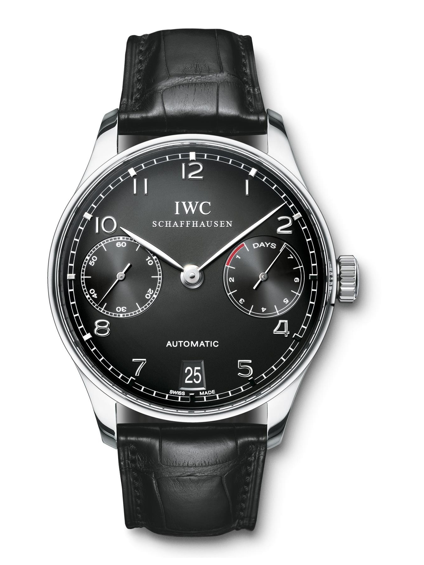 IWC Men's Portuguese 42.3mm Black Alligator Leather Band Steel Case Automatic Analog Watch IW500109