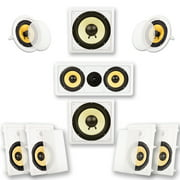 """Acoustic Audio HD-728 In-Wall/Ceiling Home Theater 7.2 Surround 8"""" Speaker System"""