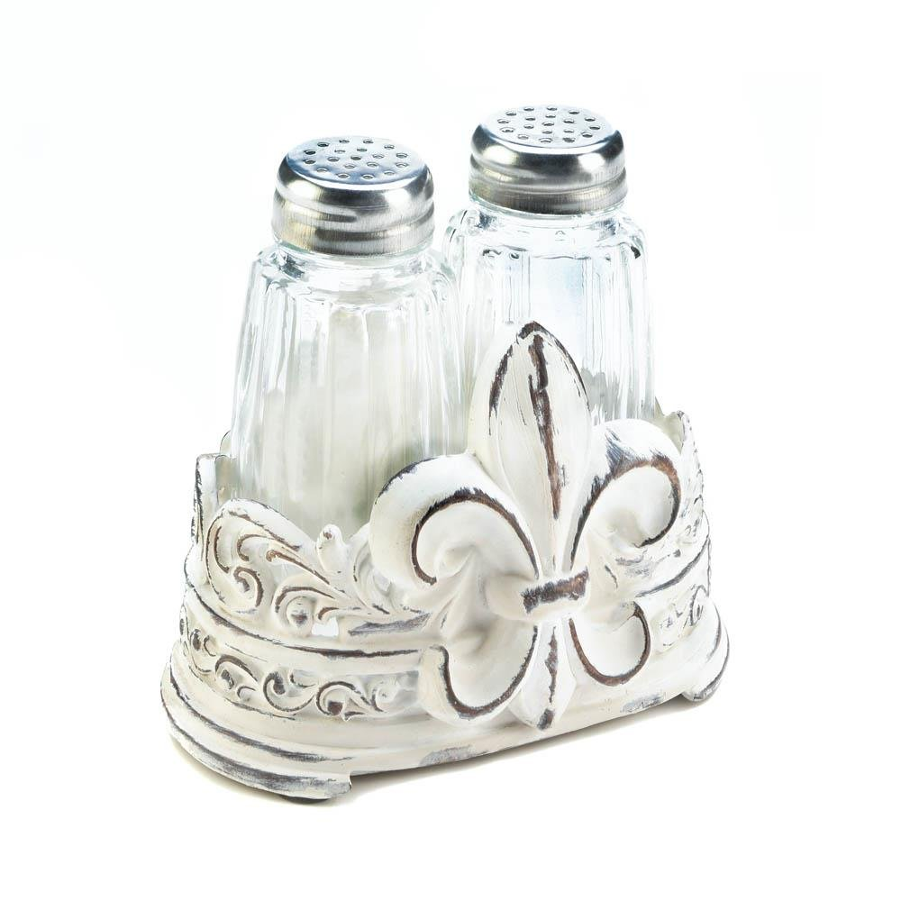 Pepper Salt Shaker Set, Fleur-de-lis Kitchen Combo Modern Salt And Pepper Shakers