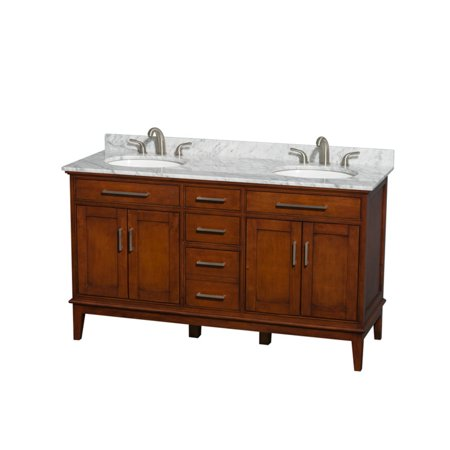 Wyndham Collection Hatton 60 inch Double Bathroom Vanity in Light Chestnut, White Carrera Marble Countertop, Undermount Square Sinks, and 56 inch Mirror