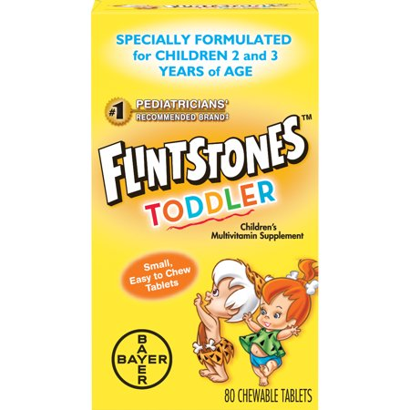 Flintstones Toddler Chewable Multivitamin, Kids Vitamin Supplement with Vitamins A, C, D, E, B6, and B12, 80 Count