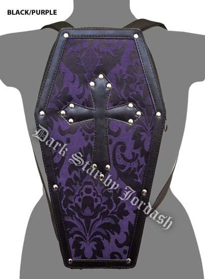 Dark Star Black Gothic PVC Coffin Cross Backpack Purse