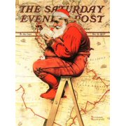 Santa at the Map Saturday Evening Post Cover, December 16,1939 Classic Christmas Vintage Art Print Wall Art By Norman Rockwell