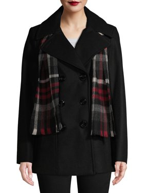 F.O.G. Women's Double Breasted Wool Coat With Scarf