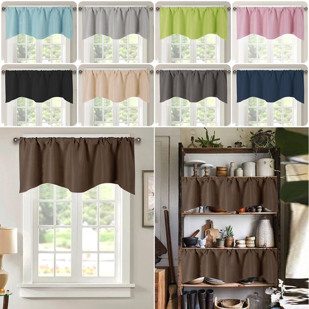 52 X18 Thermal Blackout Curtains Drape Rod Pocket Bathroom Kitchen Cafe Short Window Curtains Walmart Com Walmart Com