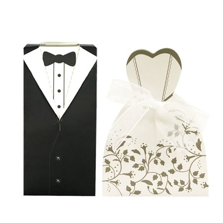 Wrapables® Tuxedo and Bridal Gown Wedding Party Favor Boxes Gift Boxes with Ribbon (Set of 100) ()