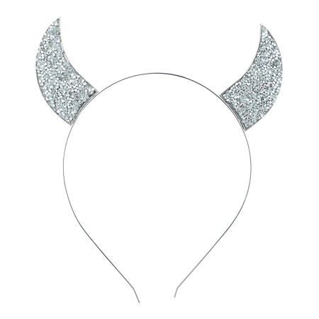 Lux Accessories Silver Tone Devil Horn Mixed Metals Costume Fashion Headband (Devil Horms)
