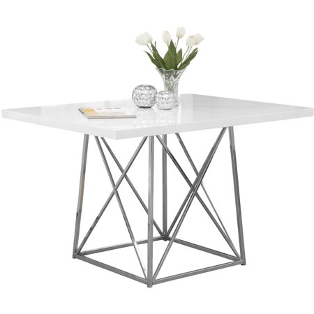 Monarch dining table 36 x 48 white glossy chrome for Table 6 3 asce 7 05