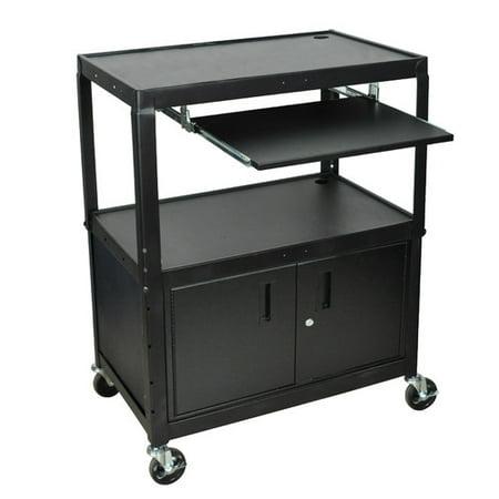 Wide Body Av Cart - Luxor Extra Wide AV Cart with Cabinet and Keyboard Tray
