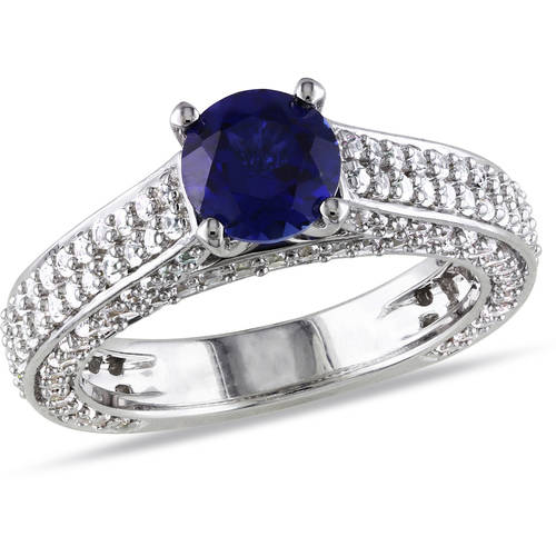 3 carat t g w created blue and white sapphire sterling