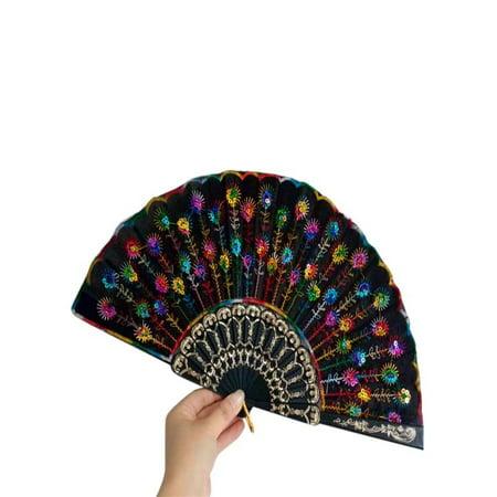 OkrayDirect Spanish Lace Silk Folding Hand Held Dance Fan Flower Pattern for Party Wedding