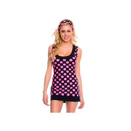 Music Legs Sexy Feelin' Polka Dot GoGo Costume 70432 Pink Polka Dot - Gogo Pink