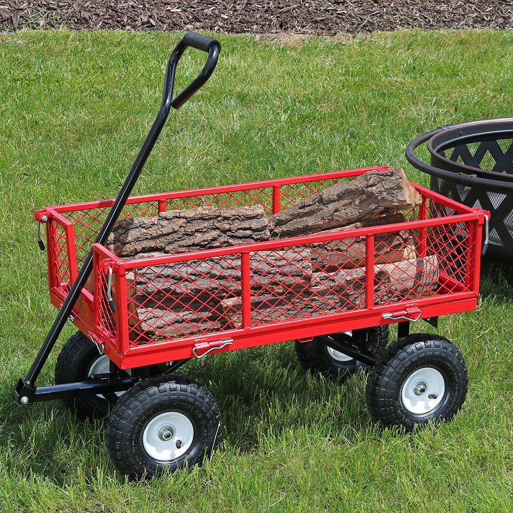 Sunnydaze Heavy Duty Steel Log Cart 400lb Capacity Pneuma...